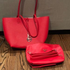 BCBG red tote with matching cross body